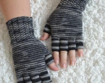 Half finger gloves,hand knitted half finger gloves,handmade wool winter gloves,striped black and grey half finger gloves