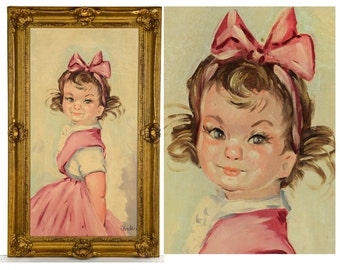"original oil painting, portrait, girl, 1940s, 1950s, framed, 28"", pink, mid century, signed, pinafore,"