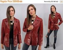 20% Sale - Vintage 70s Leather Jacket, Boho Leather Jacket, Red Leather Jacket, Boho Chic, Hippie Δ size: sm / md