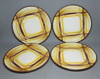 Vernon Kilns ORGANDIE set of 4 dinner plates vintage California pottery