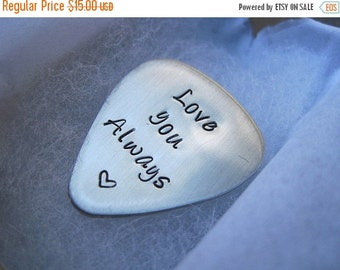 SALE Valentines Day - Stamped Jewelry - Quitar Pick - Custom Made