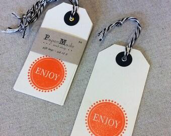 Orange 'Enjoy' Gift Tags - set of 5