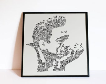 Johnny Cash Poster - doodle drawings inside the portrait based on the biography - Country Wall Art - Open Edition print - Fine Art Print