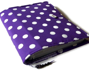 Handmade Ring Binder file cover,Purple and White Polka Dots fabric, A4 File Cover, Fabric Sleeve US Letter Size File, UK Seller
