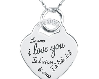 I Love You in Every Language Necklace, Personalized, 925 Sterling Silver