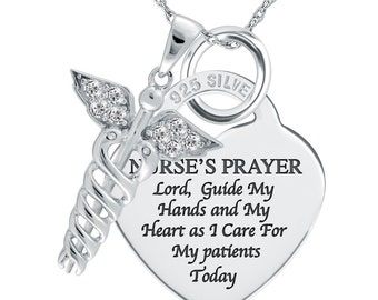 A Nurse's Prayer Necklace/Pendant 925 Sterling Silver Heart Shaped (can be personalized)