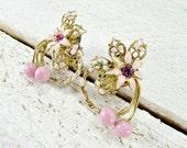 Vintage Pink Enamel Flower Earrings, Gold Filigree, Pink Rhinestones, Glass Beads, Clip-on Earrings, 1950s Costume Jewelry, Gift for Mom