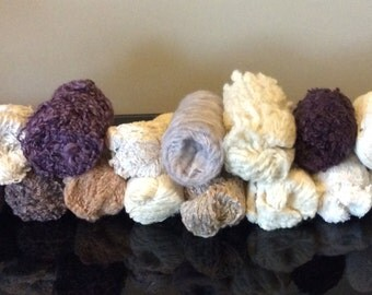 Vintage Plastic Tube  Full of Yarn - Brown Beige Purple Tones