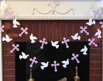 Christening Cross and DOVE Garland -  Baptism decorations - First Communion Garland - RELIGIOUS Baby Dedication Decor - Your Color choice