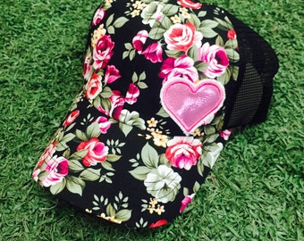 Floral Hat Cap Adjustable Heart Love Flowers Baseball Bling Ladies Womens Trucker
