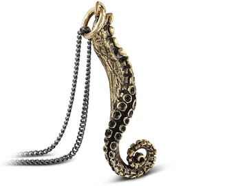 "Tentacle Necklace - Bronze Tentacle Pendant on 24"" Gunmetal Chain"