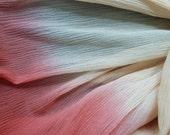 SCARF / SHAWL: Vintage soft crinkle silk, elegant beige to maroon woman's  x-long  scarf . Handmade