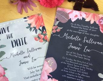 Custom floral wedding invitation package