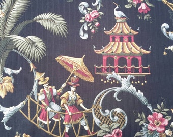 Fabric Chinoserie Brocade Panel Charcoal Base Ornate Asian Patterning Waterproof Light Proof Backing Luxe Decor by AntiquesandVaria
