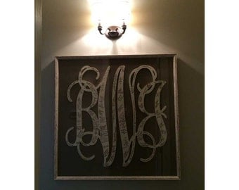 16 Inch Connected Wood Vine Script Monogram Letters - Perfect for hanging on a wall or added to a wreath and hanging on your front door.