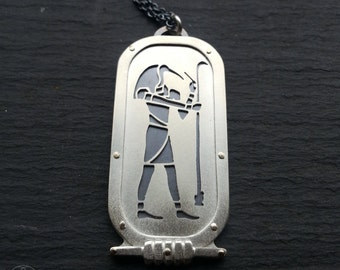 Egyptian Thoth Pendant - handcut sterling silver and 9ct gold.