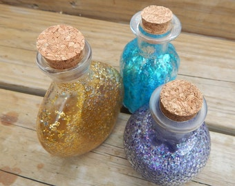 glitter potion bottle trio for LARP Roleplaying tabletop fantasy decor accessory costume potions