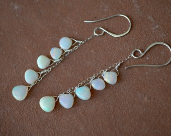 Opal Earrings, Smooth Ethiopian Opals, Dangling Silver Chain