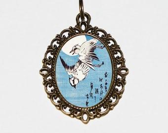 Two Plovers, Bird Necklace, Moon Jewelry, Japanese, Woodblock Art, Ukiyo-e, Oval Pendant