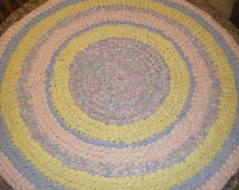 Pink and Baby Blue Nursery Rug\\Pastel Accent Rug