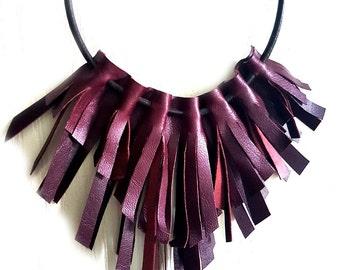 Leather Statement Necklace, Fringe Necklace, Bib Necklace, Leather Ethnic Necklace