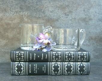 Vintage Glass Cream Creamer Sugar Bowl, Bridal Shower, Tea Party, Retro Kitchen, Neutral Minimalist, Cottage Chic, Star Design