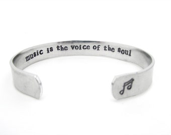 music is the voice of the soul, secret message, hand stamped jewelry, music gift, music jewelry, gift for musician, teen jewlery