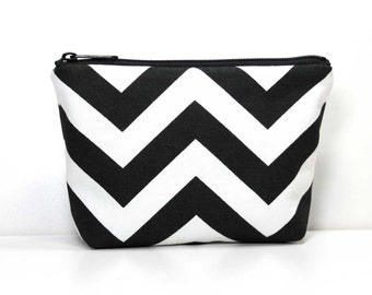 Small Zipper Pouch - Black and White Chevron Zipper Pouch - Little Pouch - Small  Makeup Pouch - Catch All Bag for Chargers Cords