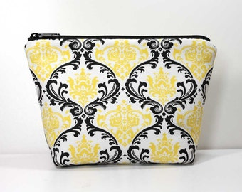 Large Zipper Pouch - Black and Yellow Damask on White - Gadget Case - Makeup Pouch - Catch All Bag for Chargers Cords