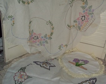 """3 Pc Lot vintage table topper tablecloth doily round embroidery butterfly, fine lace edged linens 33"""" & 27"""" Shabby chic..Reduced..was 13.39"""