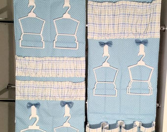American Girl and Bitty Baby Doll Clothes Organizer in Light Blue with White Dots and Checks