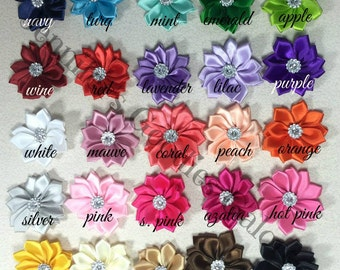 """Mini Multilayer Satin Flowers, You Choose Quantity and Color, Satin Ribbon Flower, 1.5"""" Rosette Flower with Acrylic Rhinestone"""