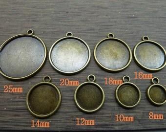 50pcs 8-10-12-14-16-18-20-25 mm Filigree Cameo Cabochon Base Setting Pendants charm pendant