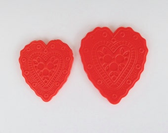 Embossed Fondant Heart Cupcake or Cake Topper Decorations - Perfect for Weddings, Valentine's Day or any special occasion