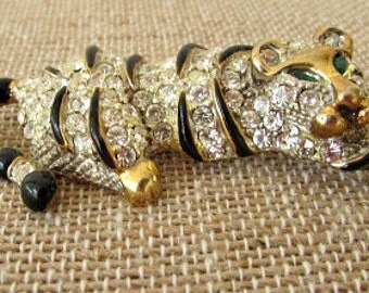 vintage 80s rhinestone tiger pin brooch black enamel gold gilt trim