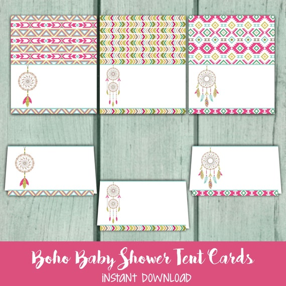 Baby Shower Buffet Menu: Boho Baby Shower Tent Cards, Bohemian Food Tent Cards