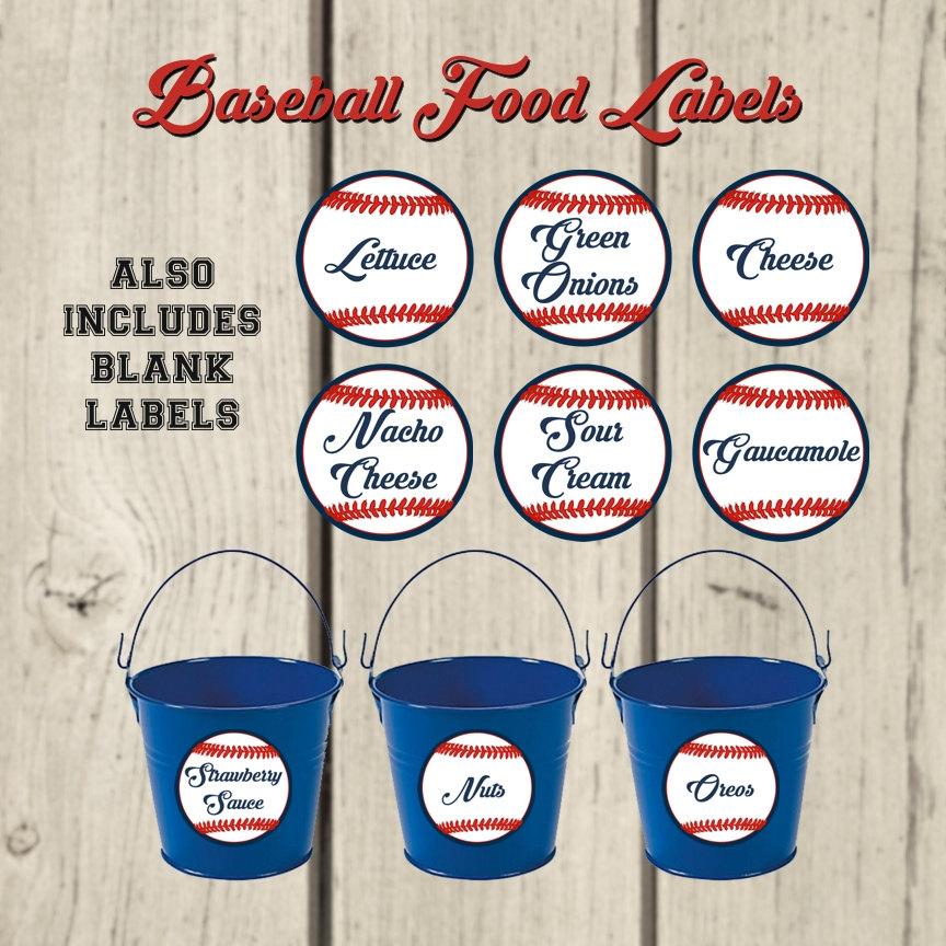 Baseball Party Food Labels. Party Buffet Table. Baseball