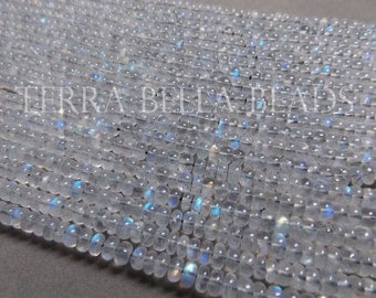 "6.5"" half strand AAA RAINBOW MOONSTONE smooth gem stone rondelle beads 4.5mm - 5mm"