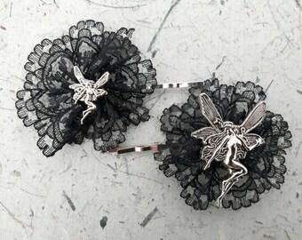 Pair 0f Gothic Fairy Angel Hairclip Hair Fascinators goth emo punk
