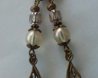 Cream Czech Glass and Antiqued Brass Earrings