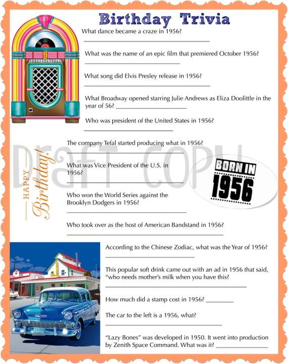 Items similar to 1956 Birthday Trivia Game Birthday  ~ 220244_Birthday Party Ideas Quiz