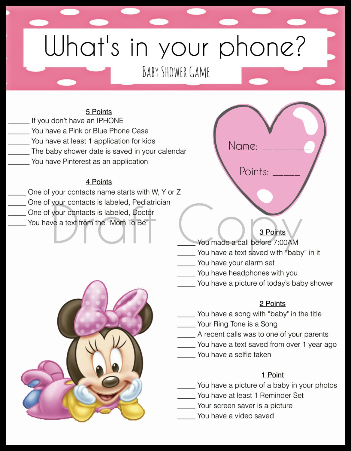 baby shower game whats in your phone minnie by 31flavorsofdesign