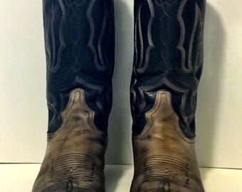 Distressed Black and Tan Stitched Tony Lama Cowboy Boots size 8 1/2D or womens size 9 1/2 to 10