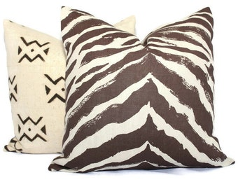 Quadrille China Seas Brown Nairobi Animal Print Pillow Cover,  Square, Eurosham or Lumbar pillow Accent Pillow