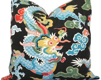 Colorful Dragon Decorative Pillow Cover, Decorative Pillow Cover, Square, Eurosham or lumbar pillow, Accent Pillow, Toss Pillow