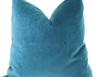 Velvet Pillow Cover, Teal Blue Decorative  Pillow Cover 18x18 , 20x20, 22x22, Eurosham, Lumbar pillow, Accent pillow,  Throw pillow