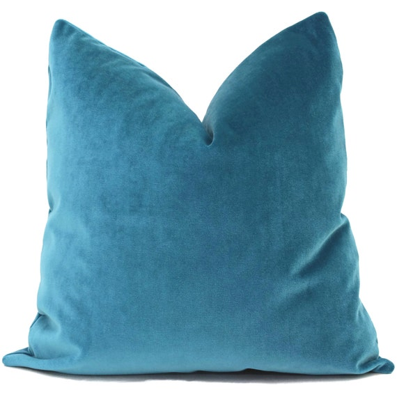Teal Blue Throw Pillow : Velvet Pillow Cover Teal Blue Decorative Pillow Cover 18x18