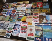 HUGE Vintage Paper Ephemera Lot Gas Station Maps Travel Brochures Souvenir Folders Tourist Travel Postcards 136 pieces