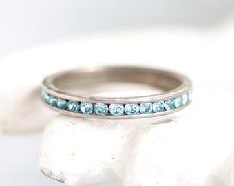 Blue Rhinestones Wedding Band - Sterling Silver Ring - Size 7.5