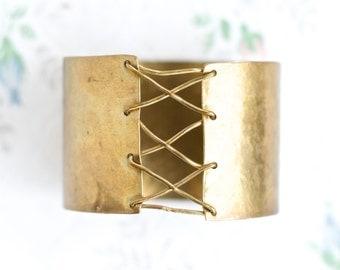 Wide Brass Cuff Bracelet - Hammered Boho Oxidized Bracelet